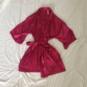Pink faux Silk robe